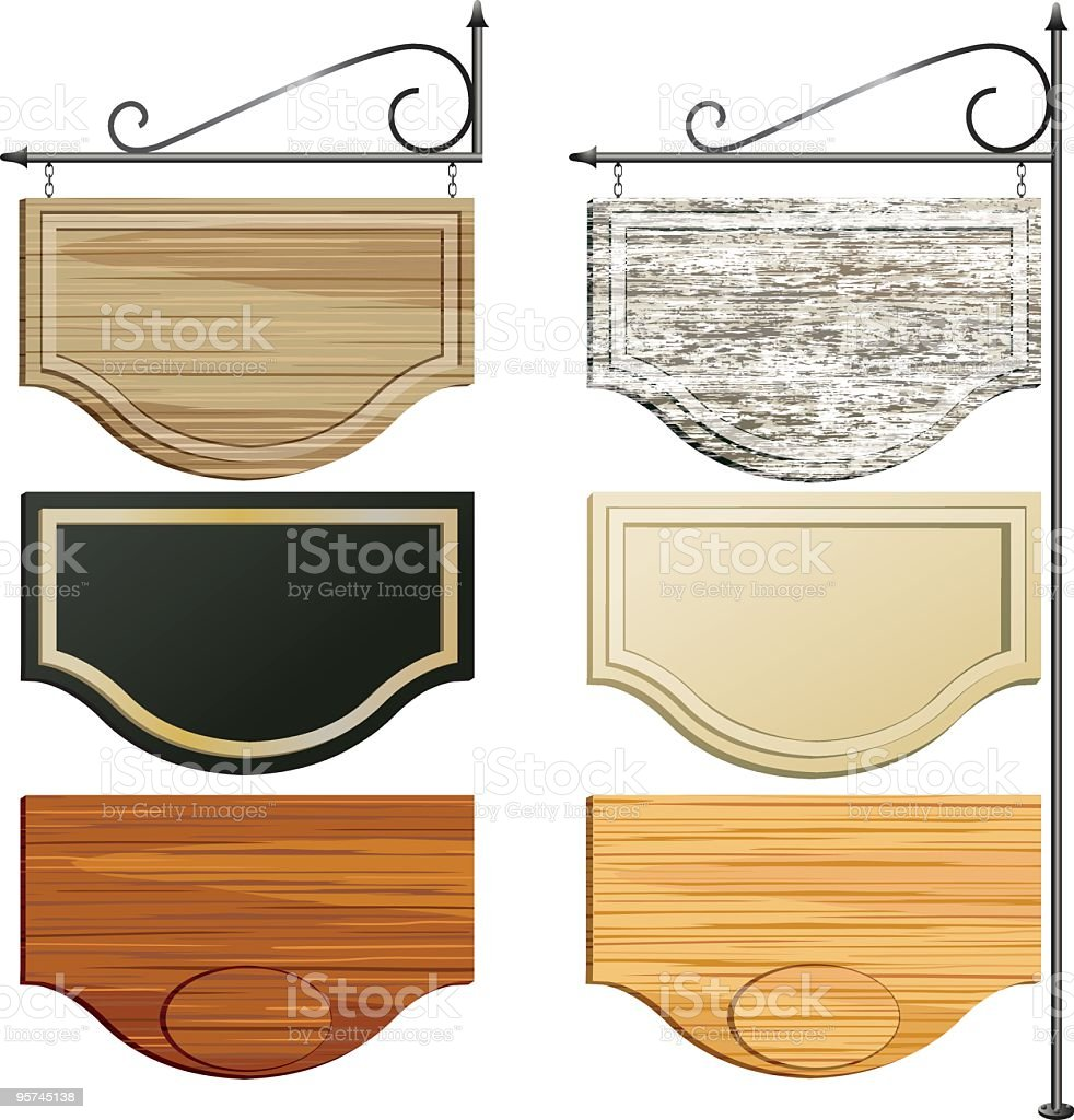 Set of Six Wooden Hanging Sign in different colored Woodgrains vector art illustration
