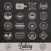 Vintage bakery badges, labels and logos on chalkboard background