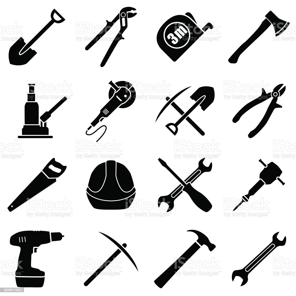 Set of sixteen black and white hand tools vector art illustration