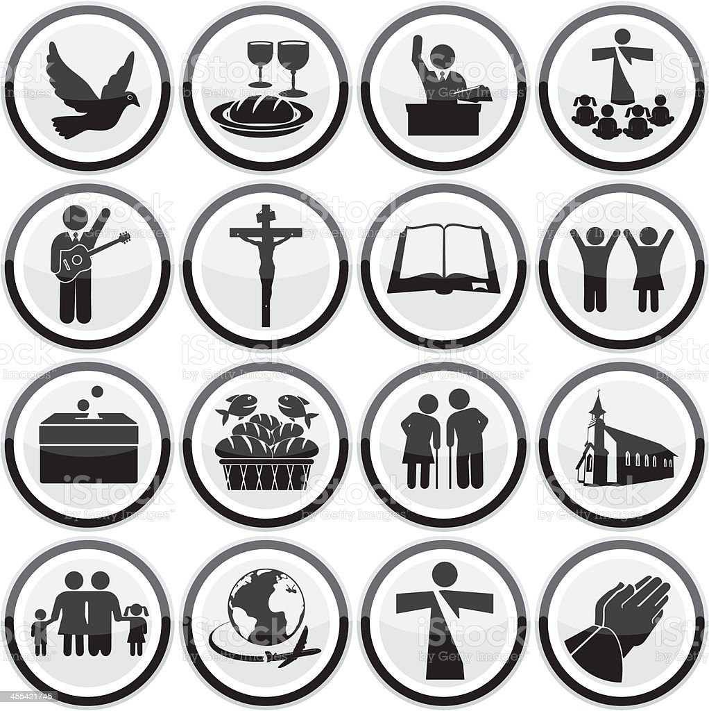 A set of sixteen black and white religious icons vector art illustration