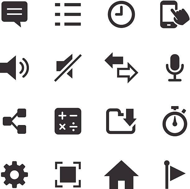 모노 아이콘 세트/스마트폰 어플 - home icon stock illustrations