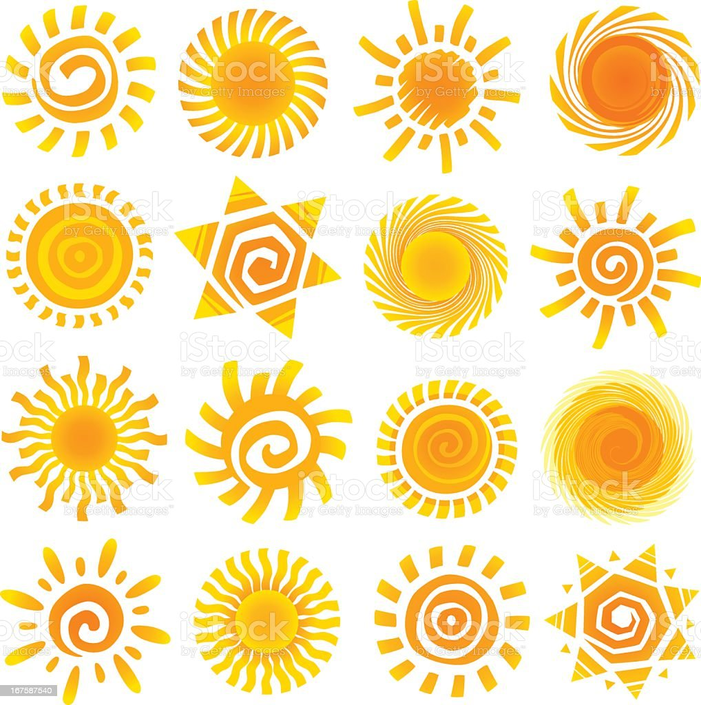 Set of sixteen bright sunshine icons royalty-free stock vector art