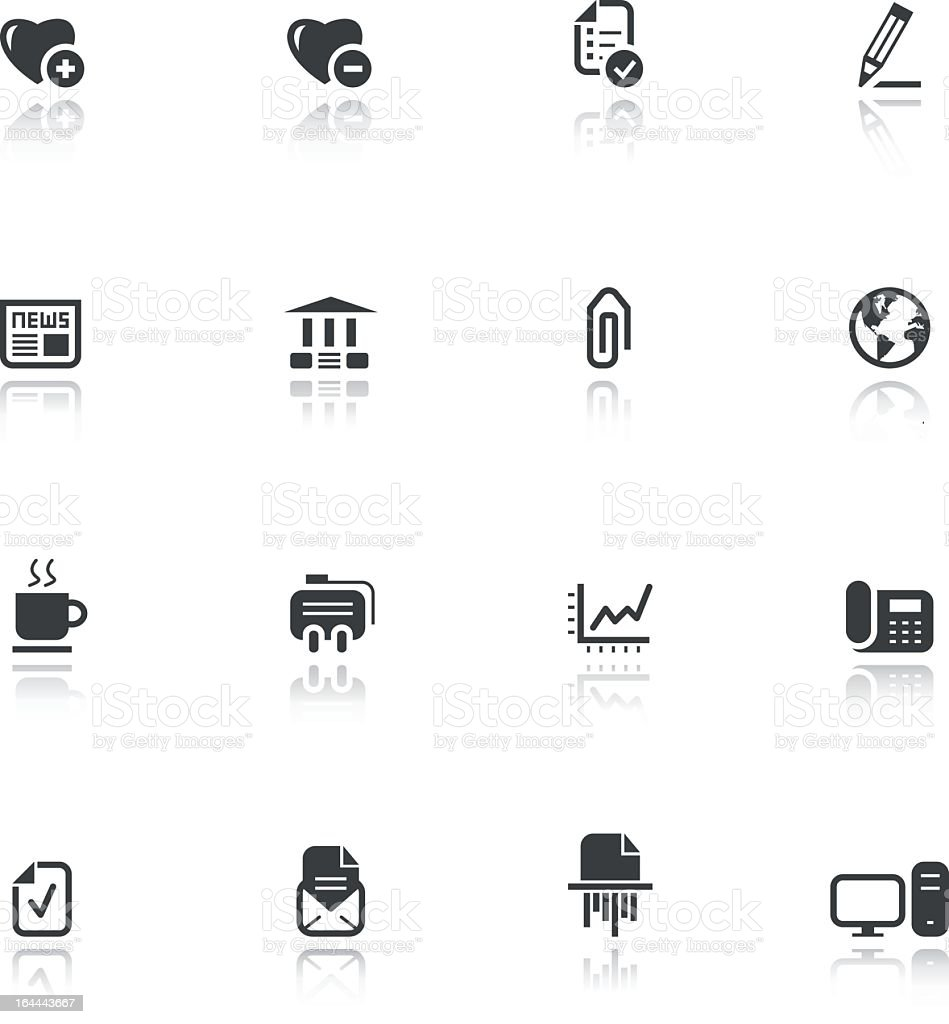 Set of sixteen business-themed flat black icons royalty-free stock vector art