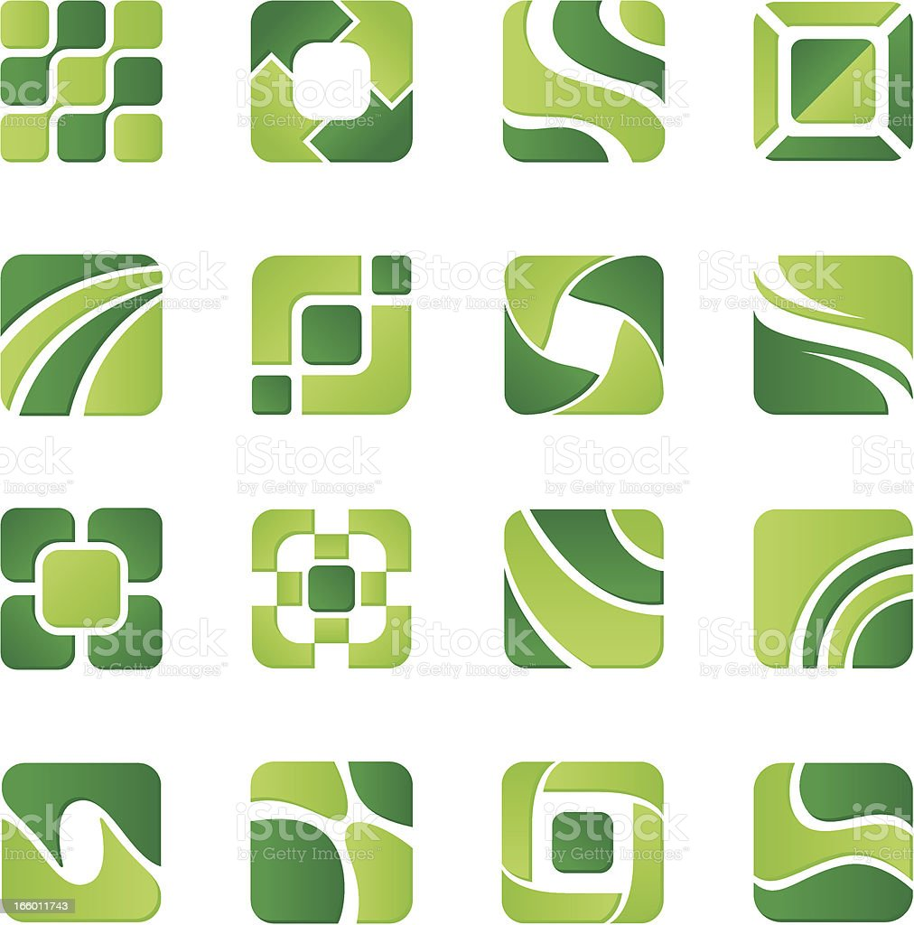 Set of sixteen design elements in green color royalty-free set of sixteen design elements in green color stock vector art & more images of abstract