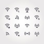 Set of sixteen different black vector  wifi and wireless icons