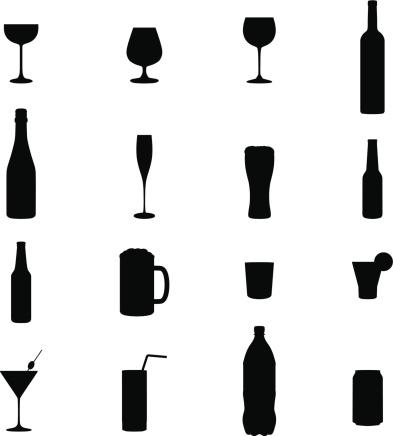 Set Of Sixteen Drinks Black Silhouette Vector Illustrations