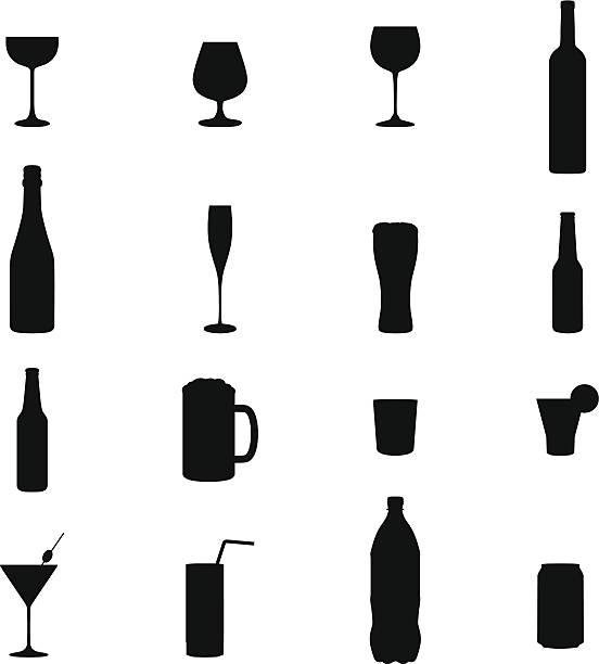 illustrazioni stock, clip art, cartoni animati e icone di tendenza di set di 16 vettoriale illustrazioni bevande silhouette nero - bottle soft drink
