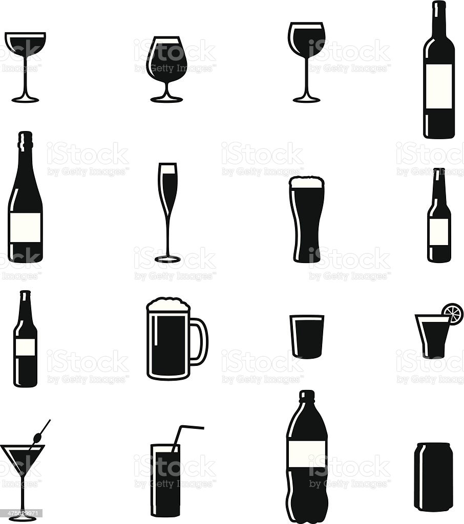 Set Of Sixteen Drinks Black & White Silhouette Vector Illustrations vector art illustration