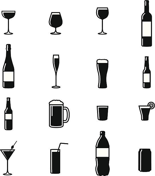 set of sixteen drinks black & white silhouette vector illustrations - alcohol drink silhouettes stock illustrations