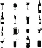 Set Of Sixteen Drinks Black & White Silhouette Vector Illustrations