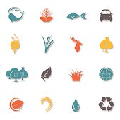 Set of Sixteen Environmental Icons