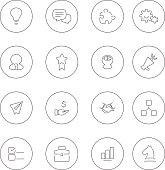 Set of sixteen flat business icons in black and white