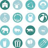 Set of sixteen green vector circus icons