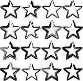 Set of sixteen grunge vector stars
