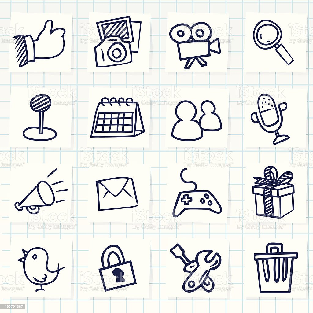Set of sixteen hand-drawn social network icons vector art illustration