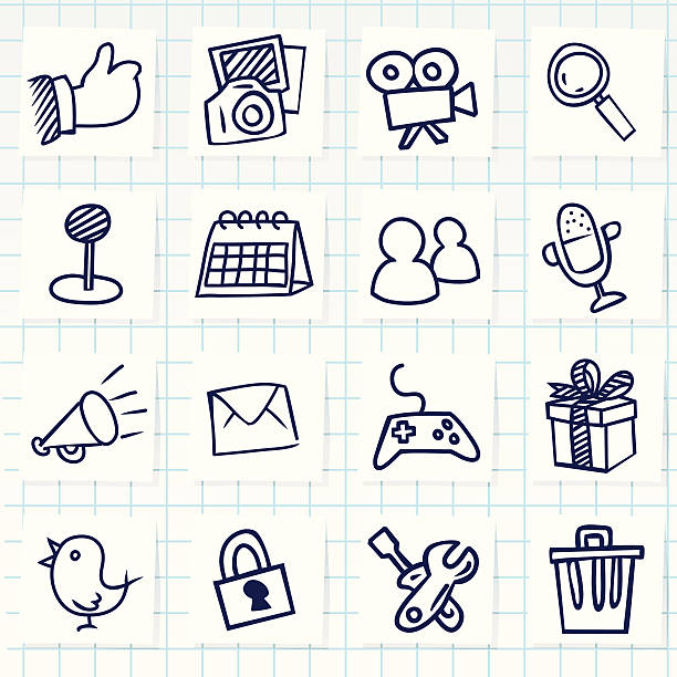 set of sixteen hand-drawn social network icons - birds calendar stock illustrations, clip art, cartoons, & icons
