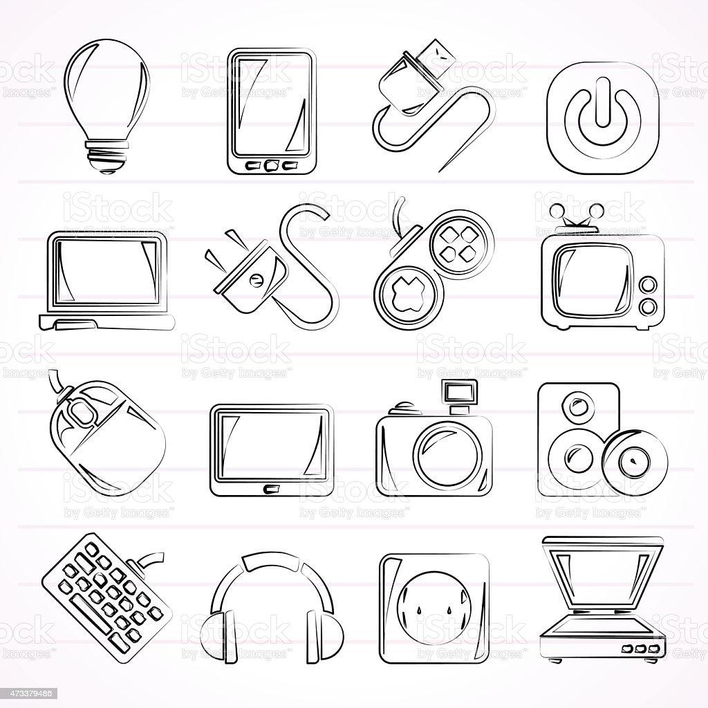 Elektronische Geräte Objekte Symbole Stock Vektor Art und mehr ...