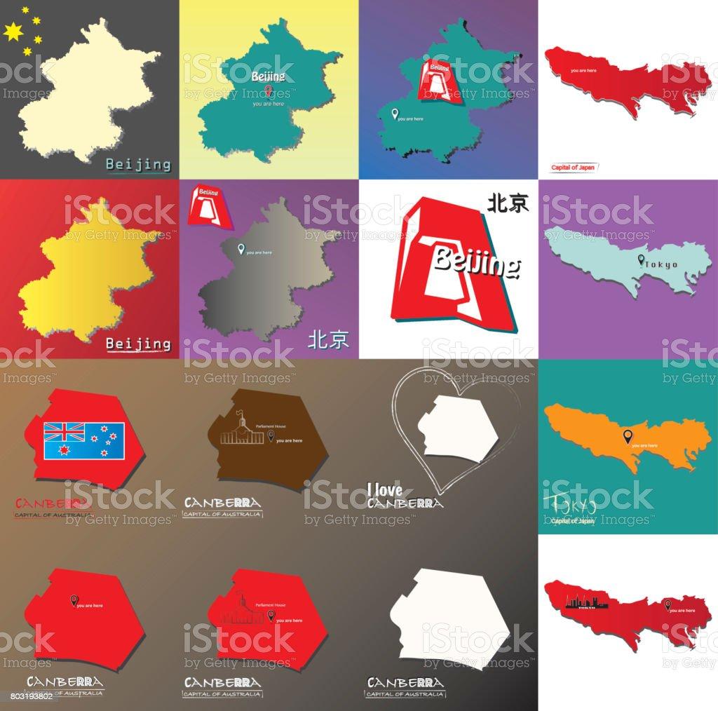 Carte Australie Chine.Ensemble Dillustration De Seize Carte De Tokyo Avec Chinois Lettres