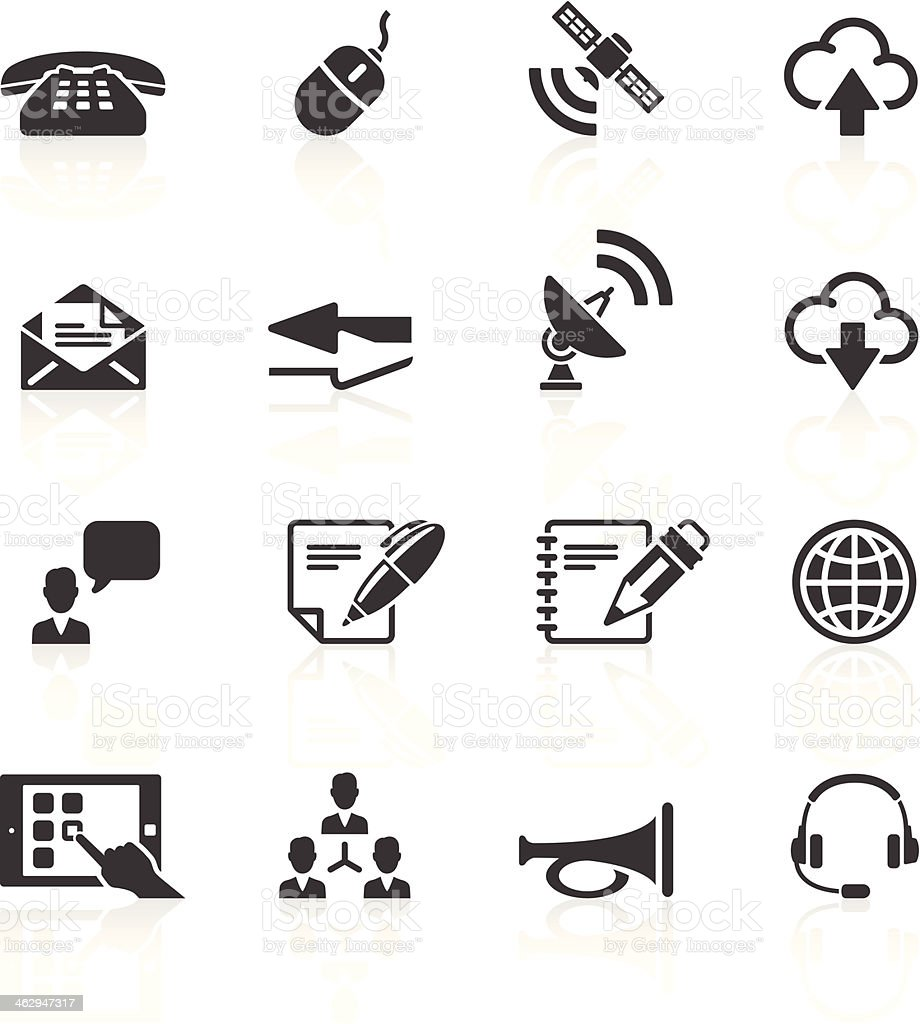 Set of sixteen simple black communication icons vector art illustration