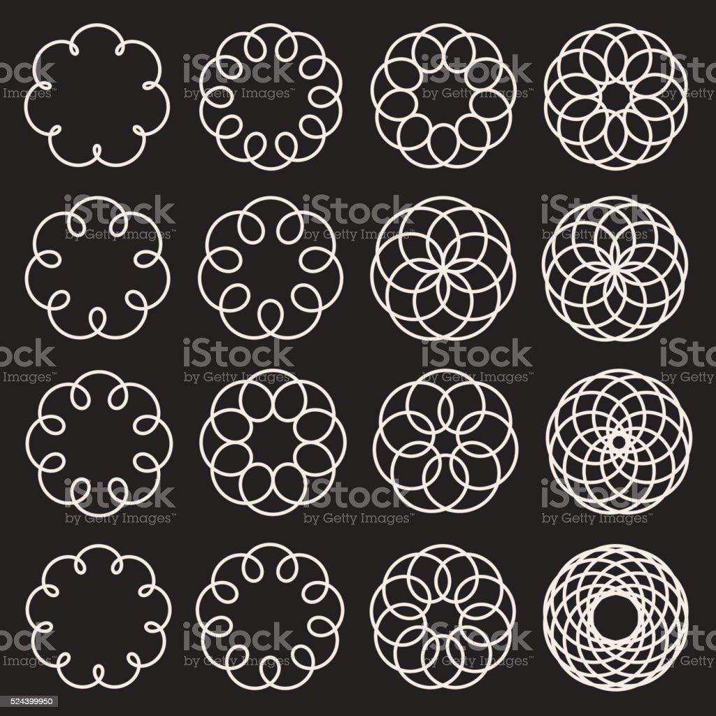Set of Sixteen Spirograph Line Circles Decorative Design Elements vector art illustration