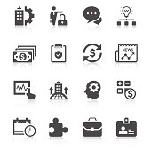 Set of sixteen unique business icons in black and white