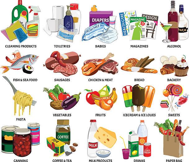 stockillustraties, clipart, cartoons en iconen met set of sixty four supermarket vector icons - bevroren voedsel