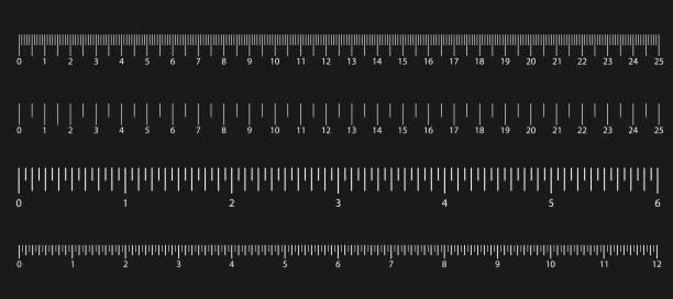 satz von größenanzeigen mit unterschiedlichen einheitenabständen. abstraktes grafikelement. vektor-illustration - winkelküche stock-grafiken, -clipart, -cartoons und -symbole