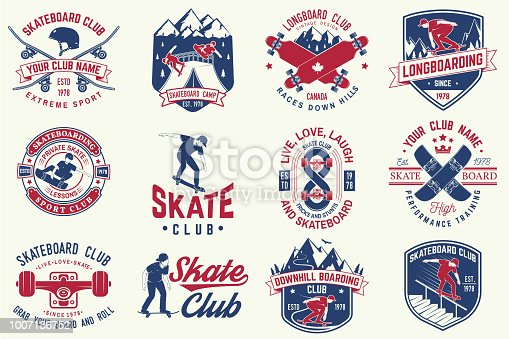 Set of Skateboard and longboard club badges with design element. Vector. For skate club emblems, signs, t-shirt design Vintage typography design with skateboards, skate truck and helmet. Extreme sport