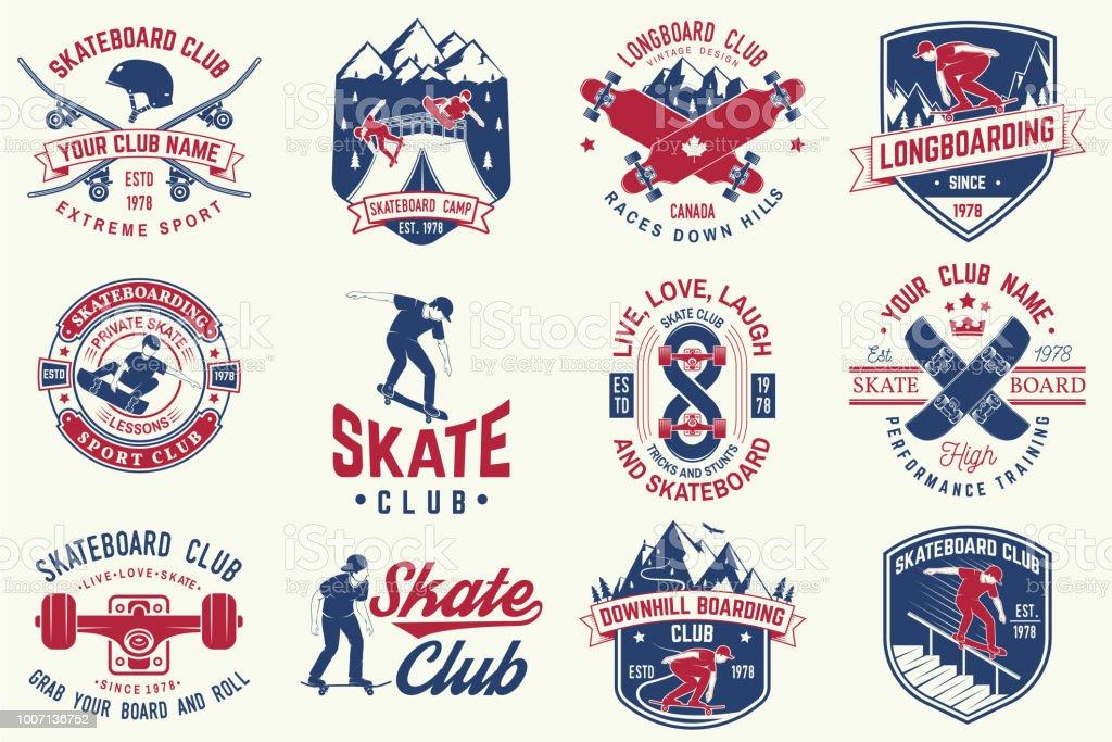 スケート ボードとロングボード クラブのバッジのセットです。ベクトル図 ベクターアートイラスト