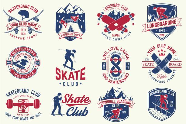 スケート ボードとロングボード クラブのバッジのセットです。ベクトル図 - スケートボード点のイラスト素材/クリップアート素材/マンガ素材/アイコン素材