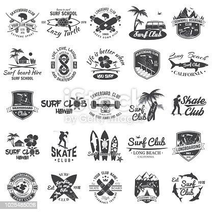 Set of skateboard, longboard and surf club badges. Vector illustration. For surf and skate club emblems, signs and t-shirt design. Vintage typography design. Extreme sport.