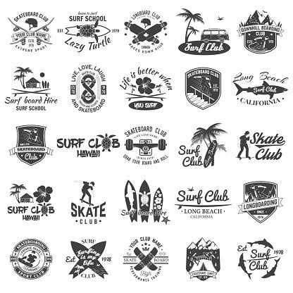 Set of skateboard, longboard and surf club badges. Vector illustration.