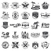 istock Set of skateboard, longboard and surf club badges. Vector illustration. 1025485026