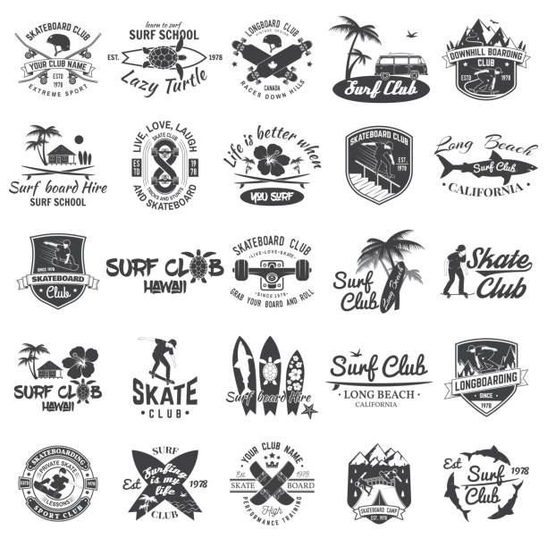 Set of skateboard, longboard and surf club badges. Vector illustration. Set of skateboard, longboard and surf club badges. Vector illustration. For surf and skate club emblems, signs and t-shirt design. Vintage typography design. Extreme sport. surf stock illustrations
