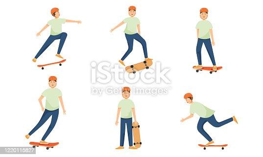 istock Set of skateboard teenage boy in helmet skates and performs various complex tricks. Vector illustration in flat cartoon style 1220115827