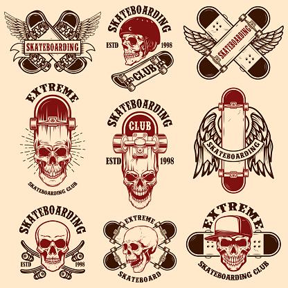 Set of skateboarding club emblems with skulls. Design element for poster,sign, label, t shirt.