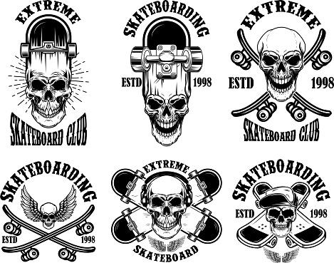 Set of skateboarding club emblems with skulls. Design element for poster, sign, label, t shirt.