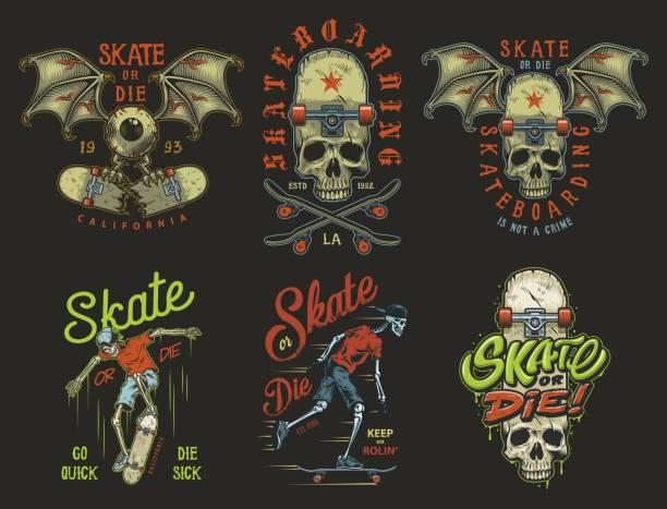ilustrações, clipart, desenhos animados e ícones de conjunto de emblemas skate - andar de skate