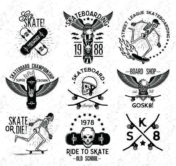 スケートボードのラベルとバッジのセット。スケートボードスケルトン。 - スケートボード点のイラスト素材/クリップアート素材/マンガ素材/アイコン素材