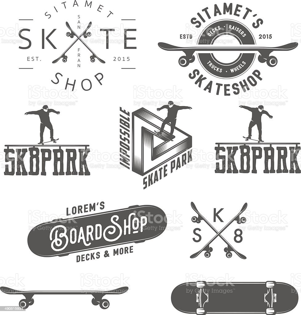 Set of skateboarding labels, badges and design elements vector art illustration