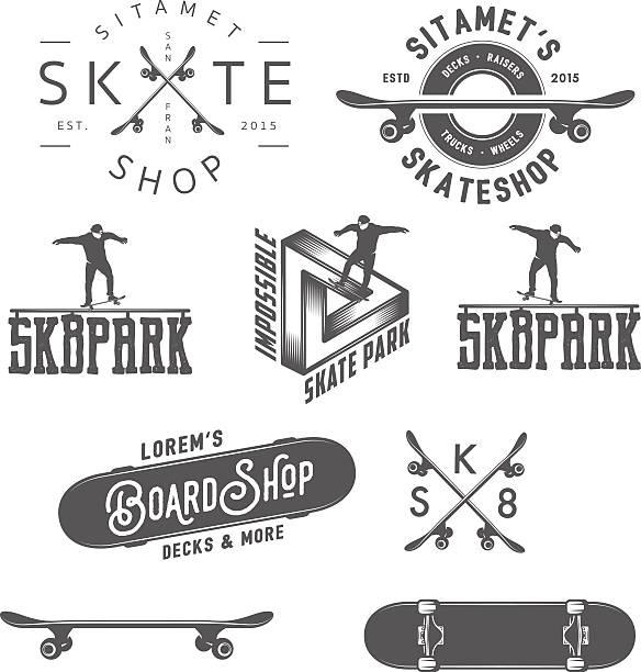 set of skateboarding labels, badges and design elements - skateboard stock illustrations