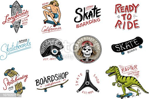 Set of Skateboarding labels logo. Skater Dinosaur tyrannosaur rex rides on the board.. Urban design for badges, emblems t-shirt typography. engraved hand drawn sketch in monochrome vintage style