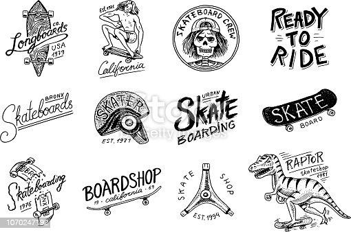Set of Skateboarding labels logo. Vector illustration with Skeleton for skater. Urban design for badges, emblems t-shirt typography. engraved hand drawn sketch in monochrome vintage style
