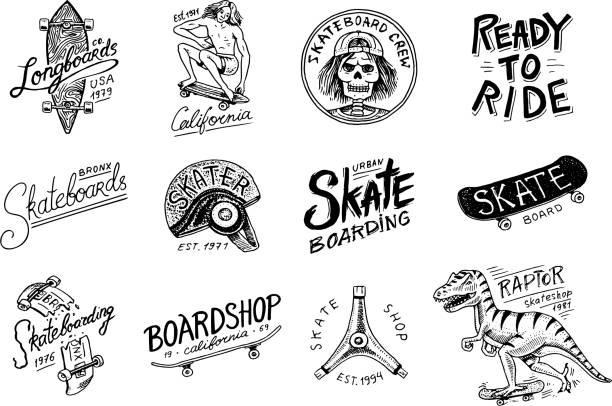 スケート ボードのラベルのロゴのセットです。スケーターのスケルトンとベクトル イラスト。バッジ、エンブレム t シャツ タイポグラフィーにおけるアーバン デザイン。モノクロのビンテ - スケートボード点のイラスト素材/クリップアート素材/マンガ素材/アイコン素材