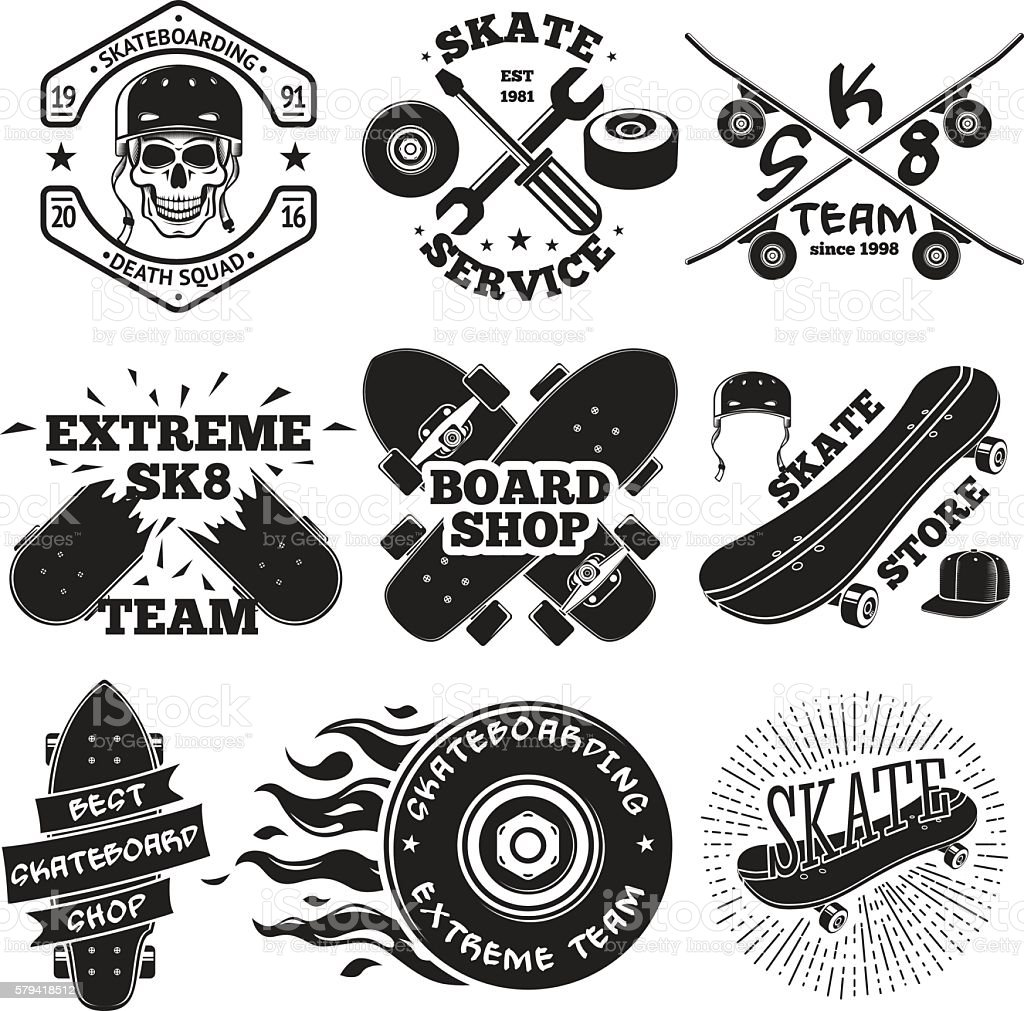 Set of skateboarding labels - skull in helmet, repair, skate vector art illustration