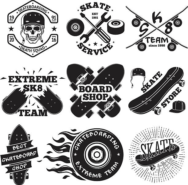 ilustraciones, imágenes clip art, dibujos animados e iconos de stock de set of skateboarding labels - skull in helmet, repair, skate - monopatín