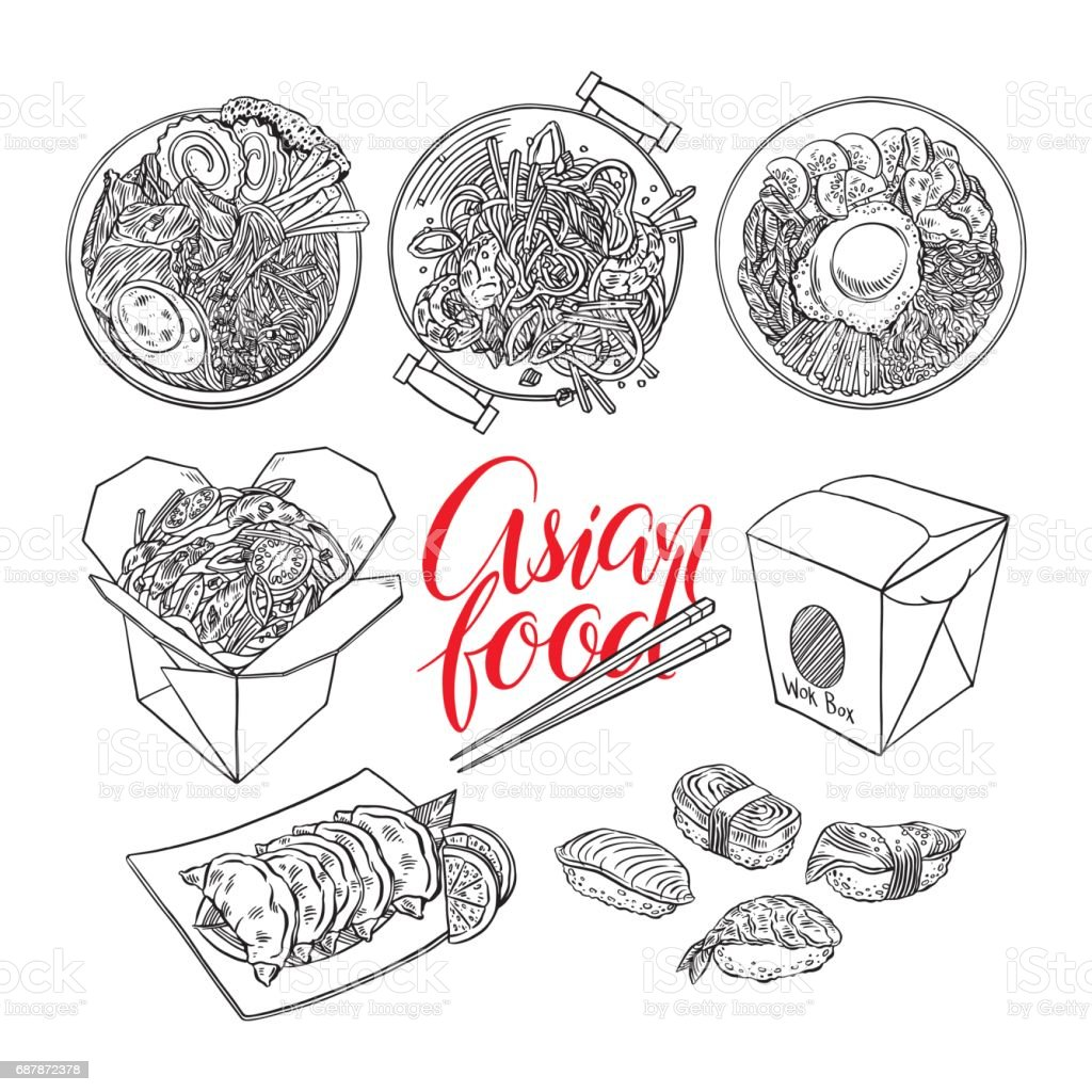 set of sketch Asian food vector art illustration
