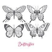 set of sketch butterflies