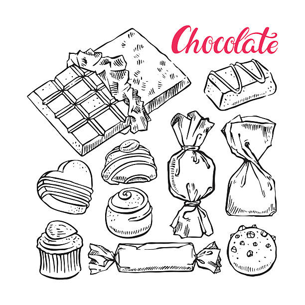 set of sketch chocolate candies beautiful set of different sketch chocolate candies. hand-drawn illustration caramel stock illustrations