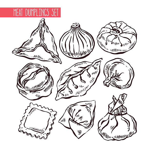 set of sketch different dumplings appetizing set of sketch different dumplings. hand-drawn illustration tortellini stock illustrations